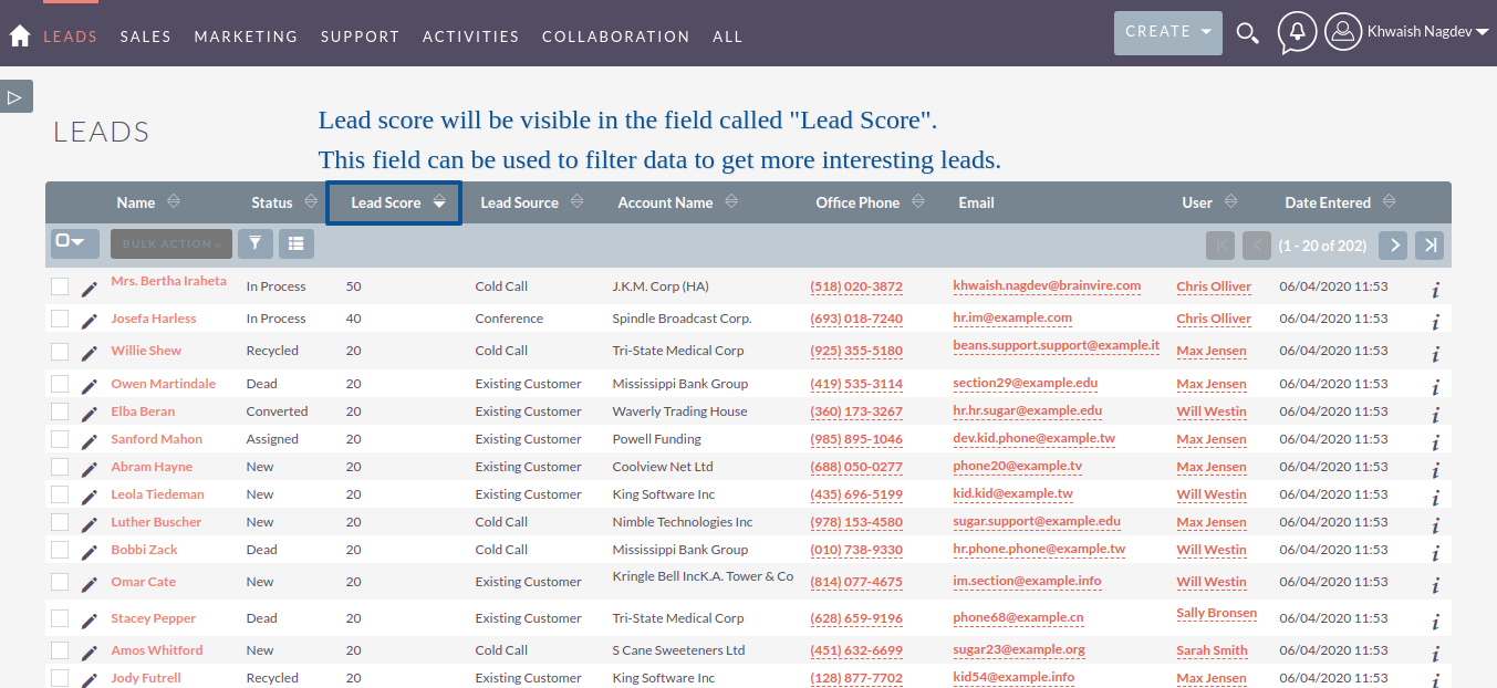 Lead Scoring add-on for SuiteCRM List View