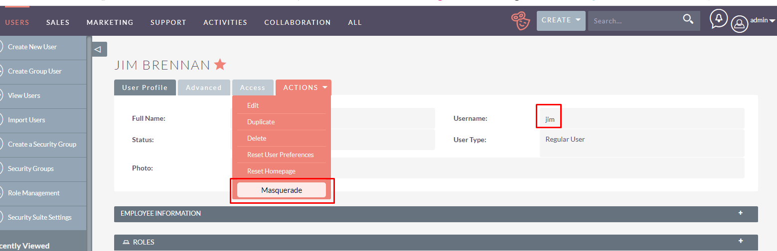 Masquerade Switch User add-on for SuiteCRM user profile