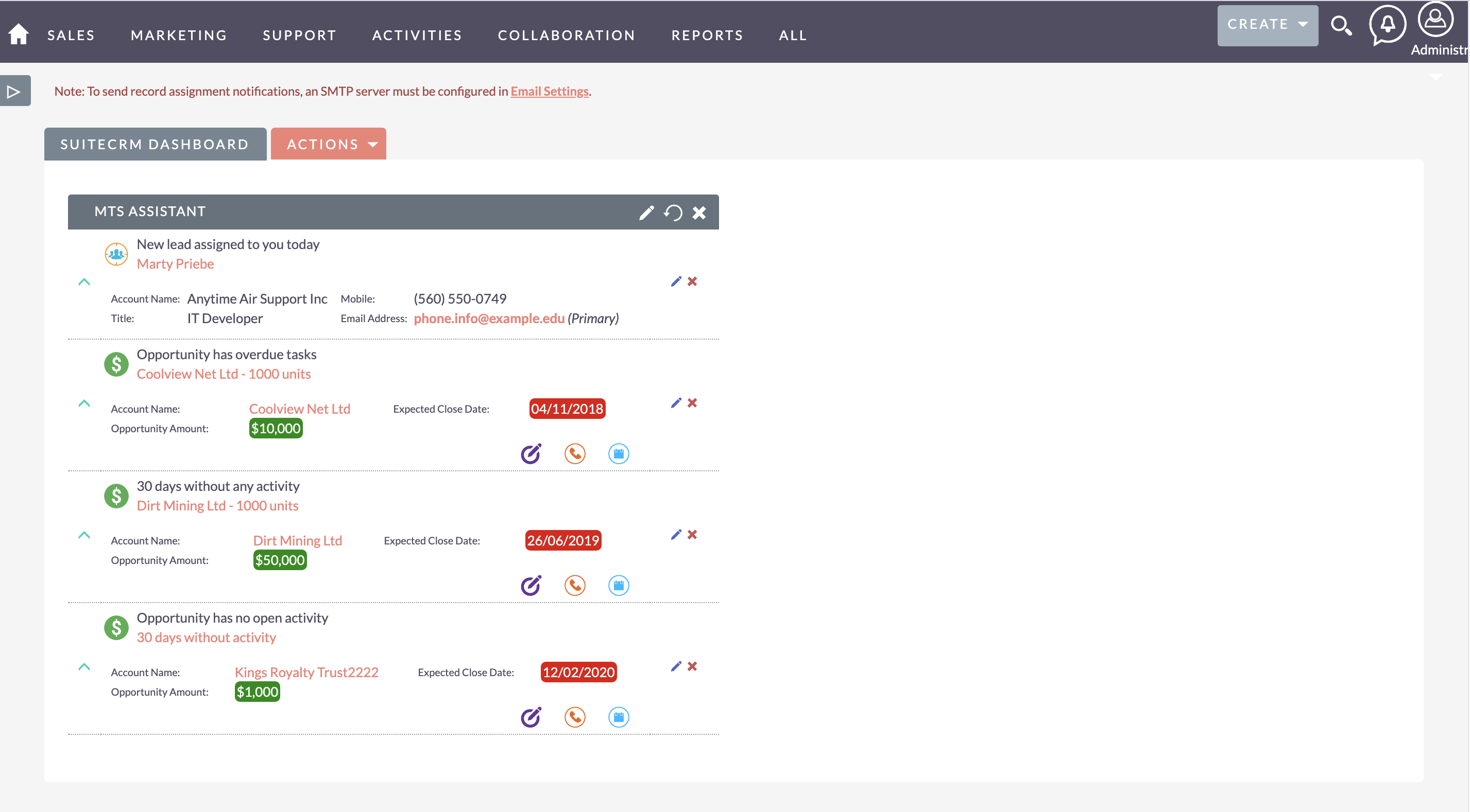 MTS Assistant for SuiteCRM dashboard