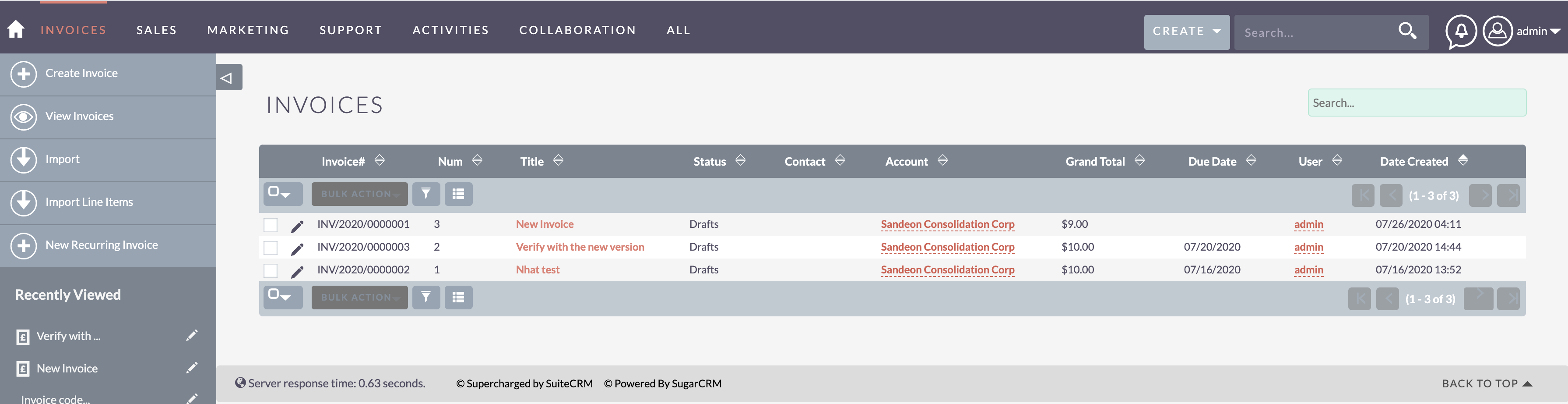 MTS Code Generator invoice result