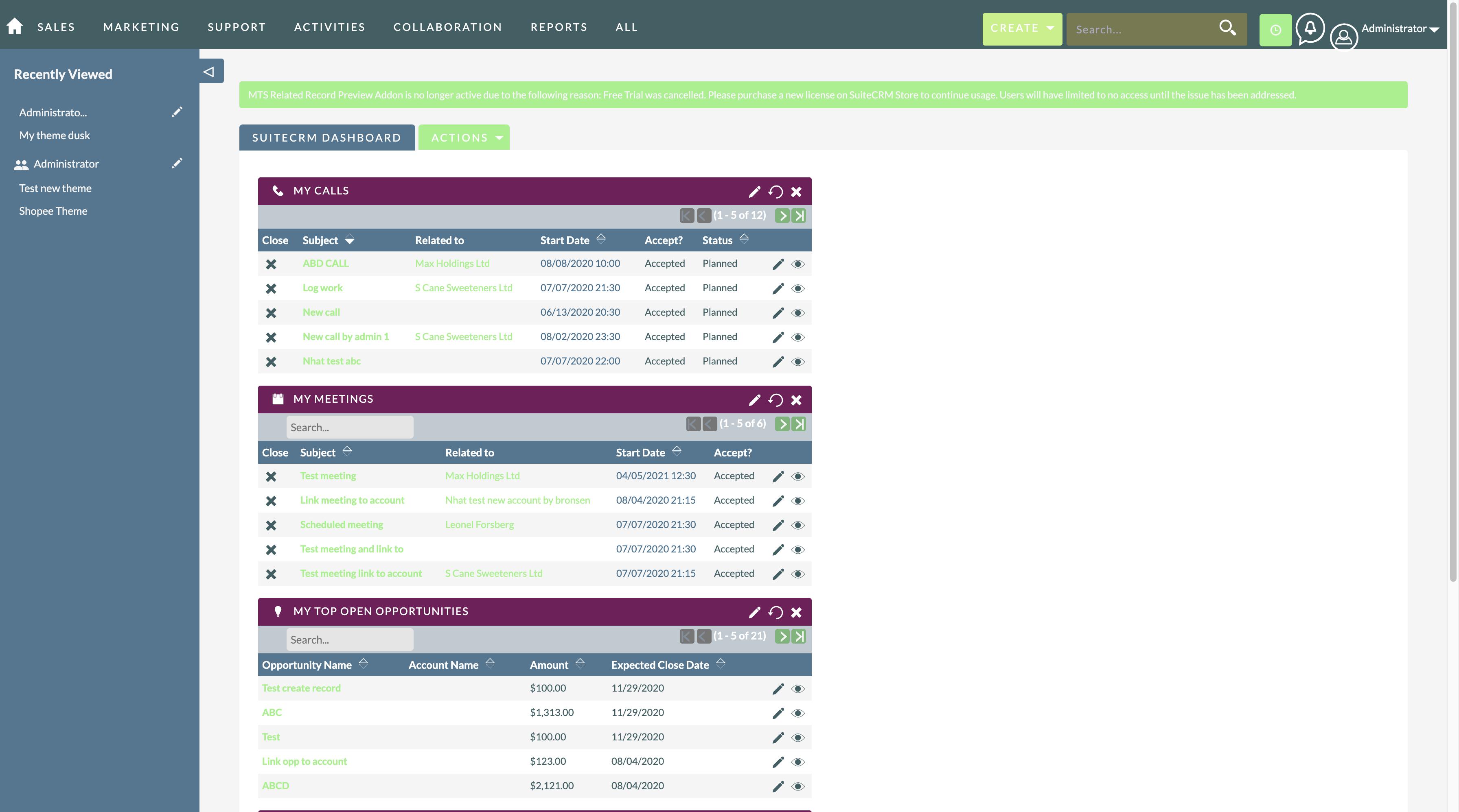 MTS Theme Builder for SuiteCRM dashlet