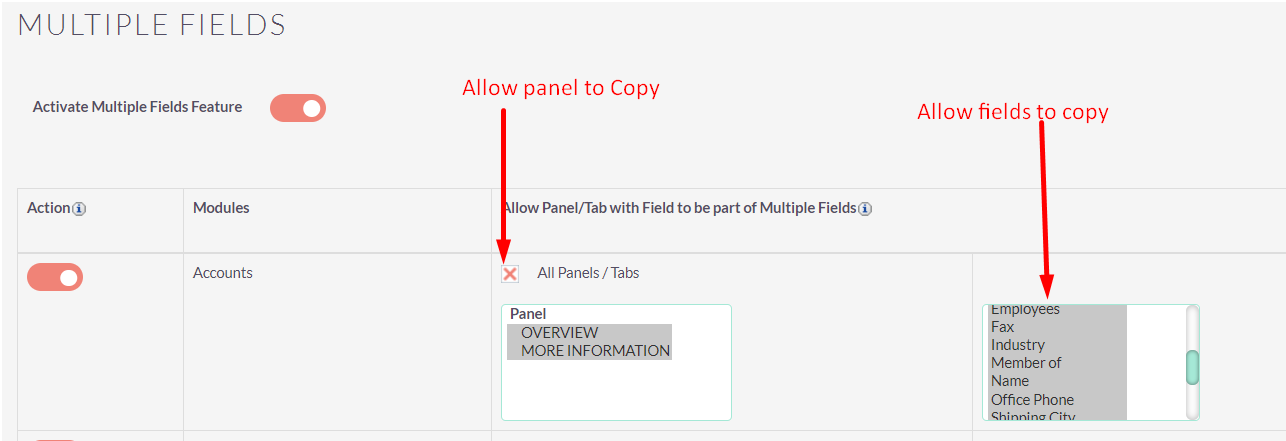 Multiple Fields add-on for SuiteCRM configuration