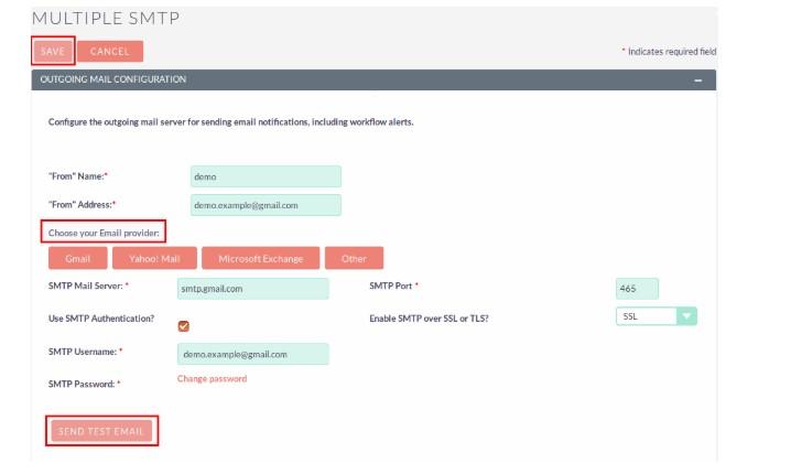 SuiteCRM User Email Server Configuration