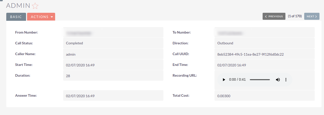 Plivo Click-to-Call Integration for SuiteCRM call log with recording