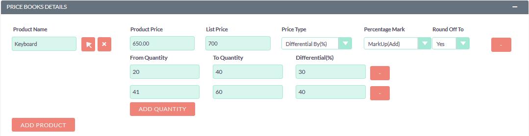 Price Books for SuiteCRM differential per percentage