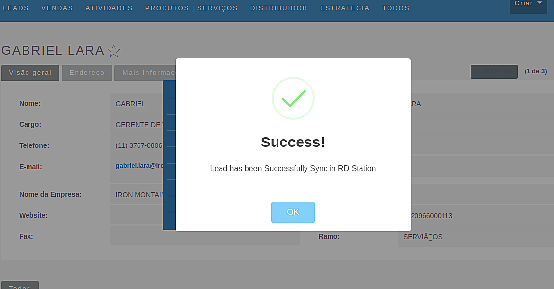 Success prompt to sync contacts in the RD Station Integration for SuiteCRM