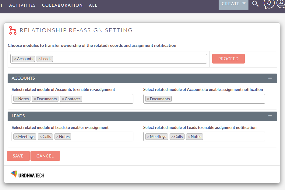Reassign Related Records add-on for SuiteCRM activities configuration