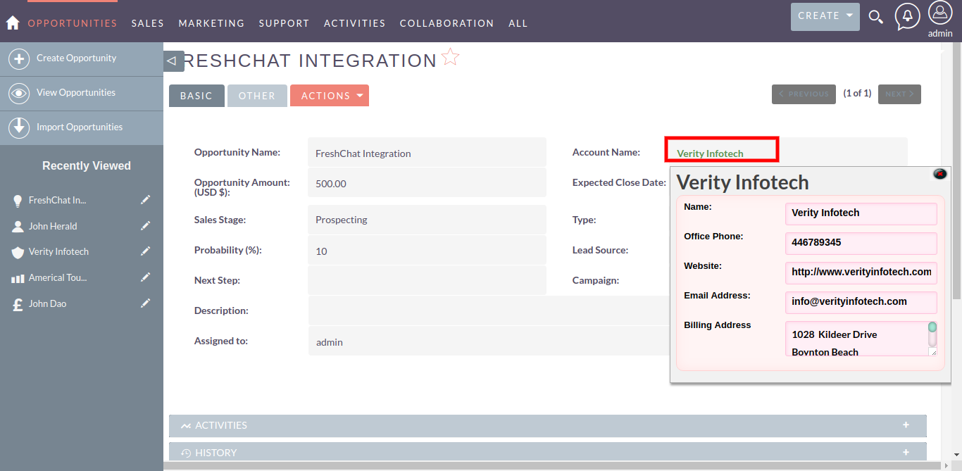 Detail View of Related QuickView add-on for SuiteCRM
