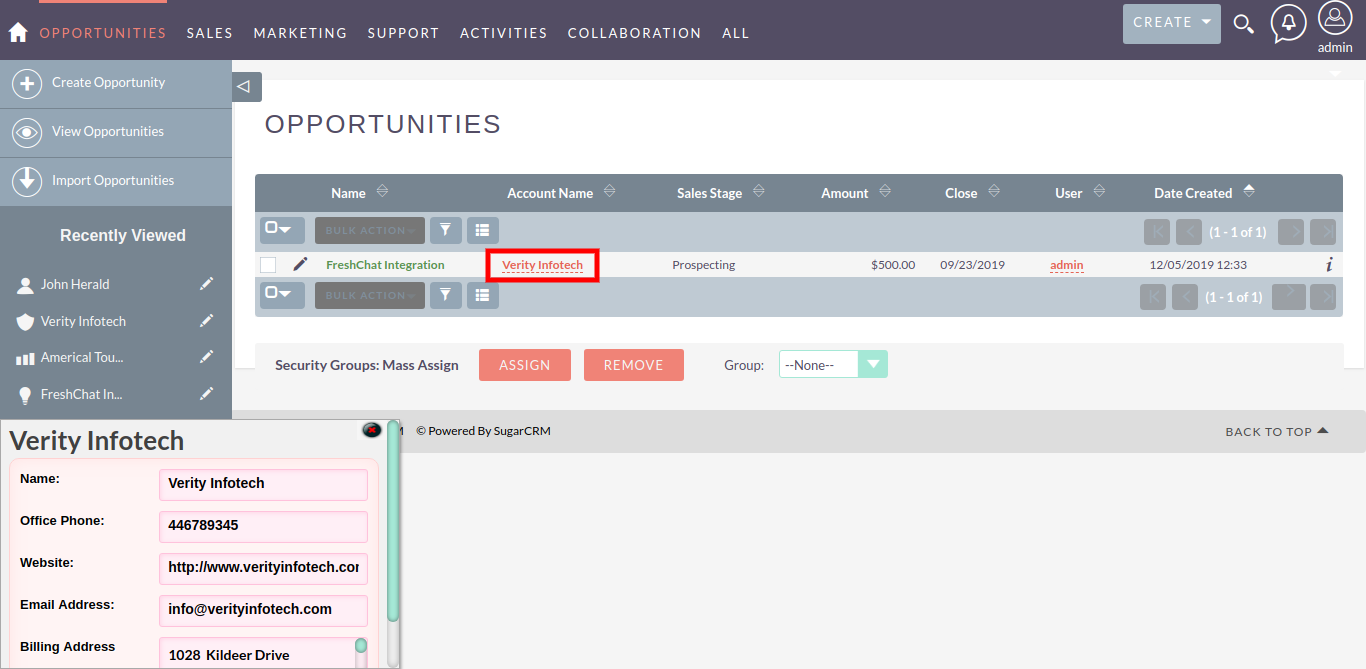 List View of Related QuickView add-on for SuiteCRM