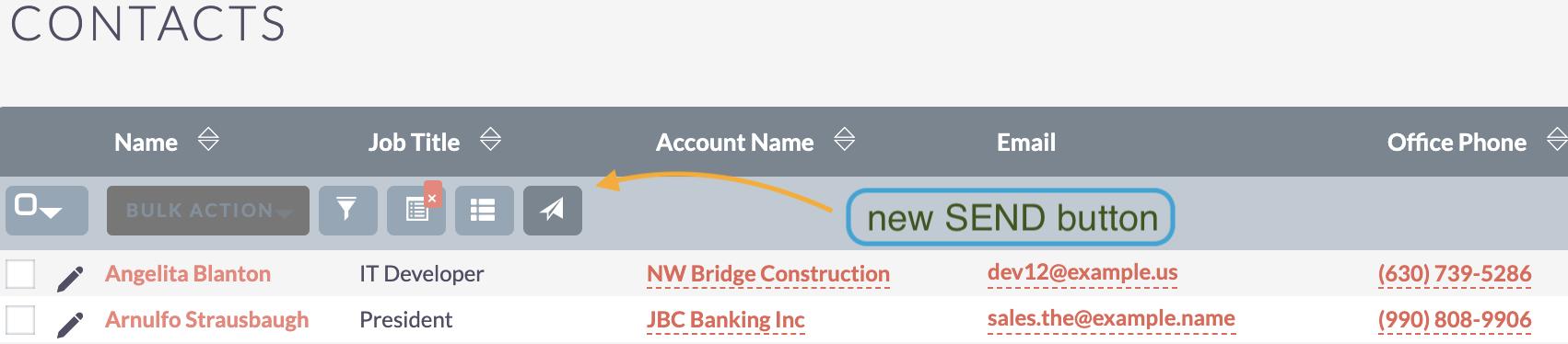 Screenshot showing the new button