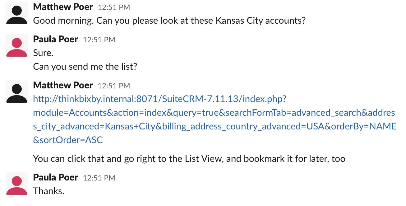 Screenshot of share link being sent over Slack