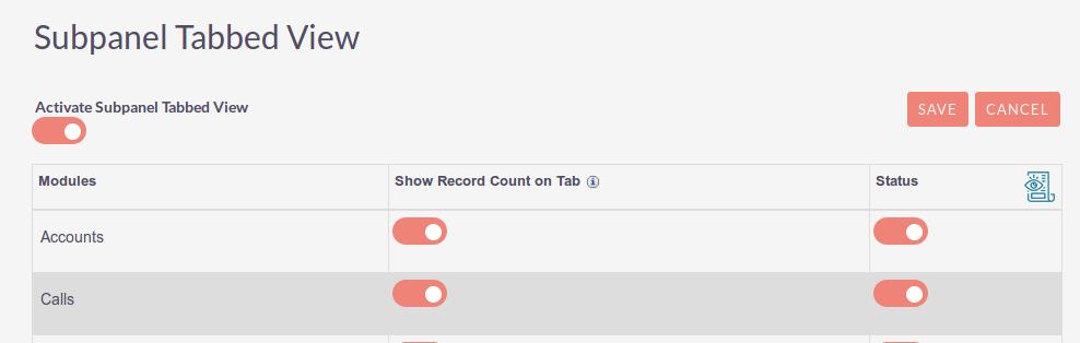 Subpanel Tabbed View Add-on for SuiteCRM Settings