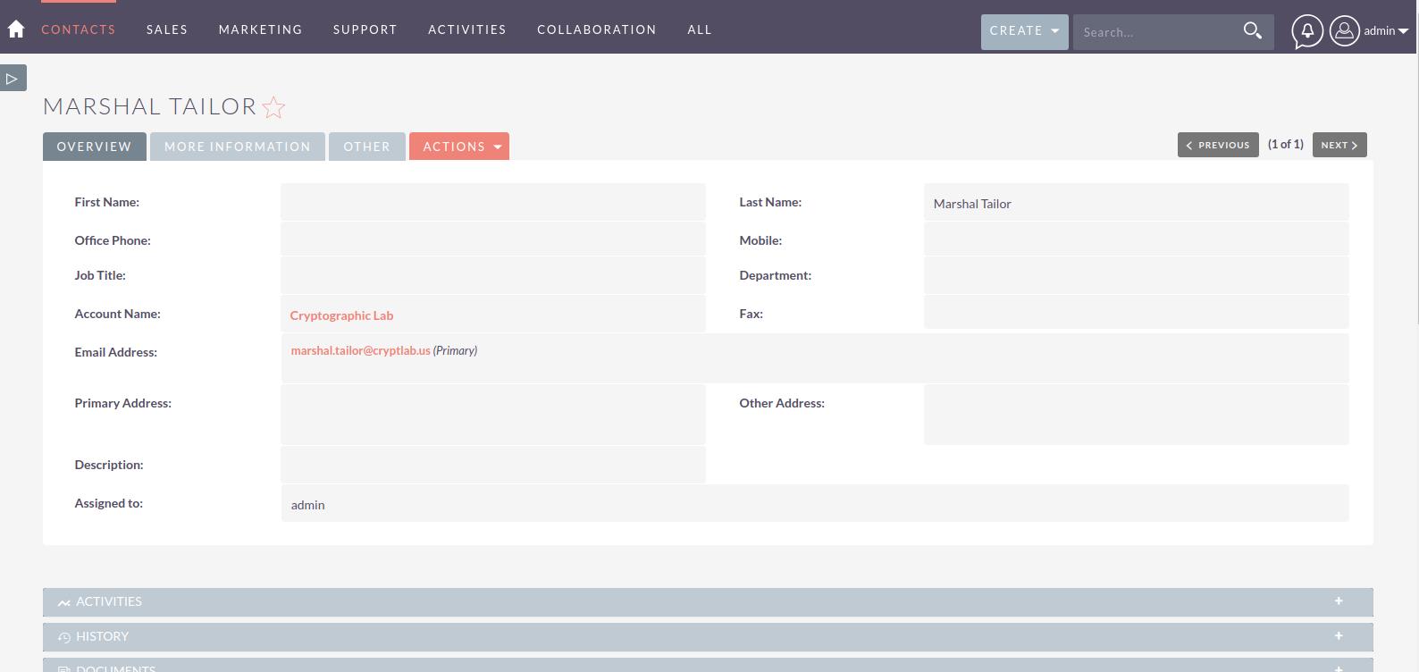 SuiteCRM Freshdesk Integration create contact