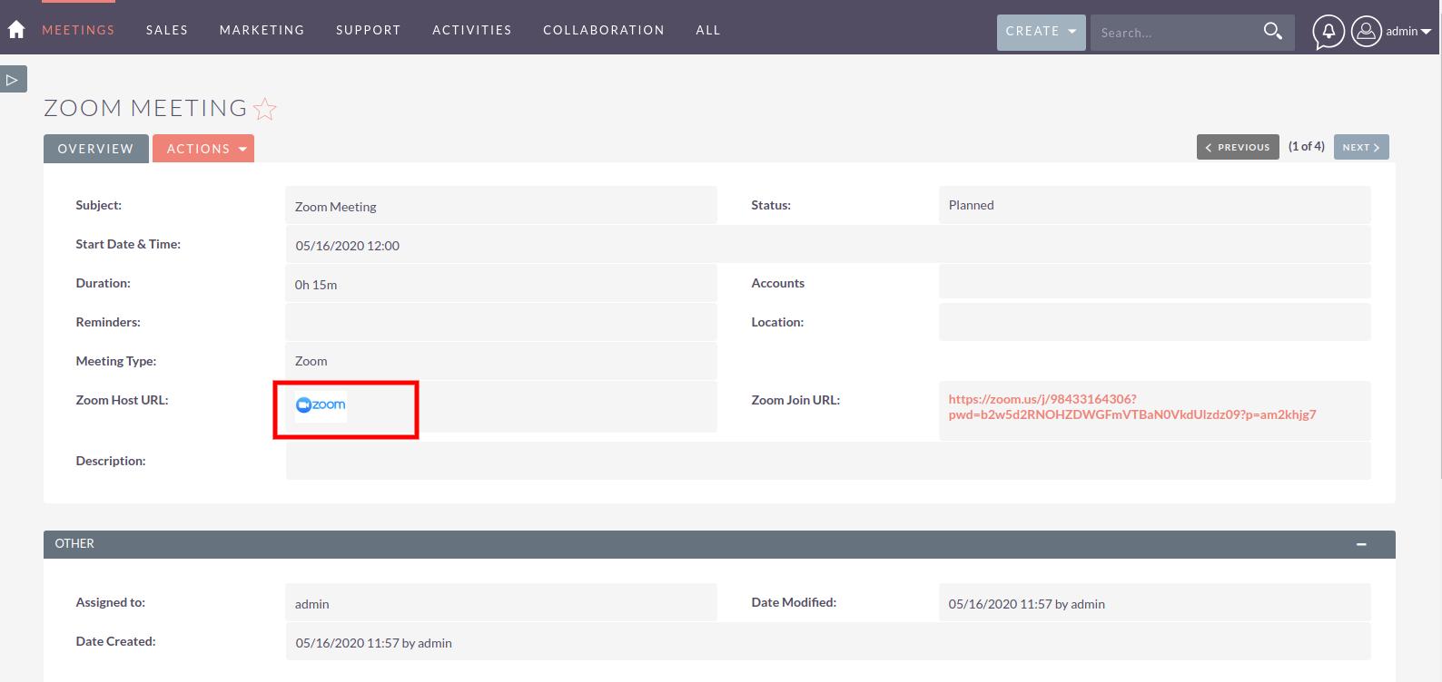 Zoom Integration for SuiteCRM clickable Zoom icon