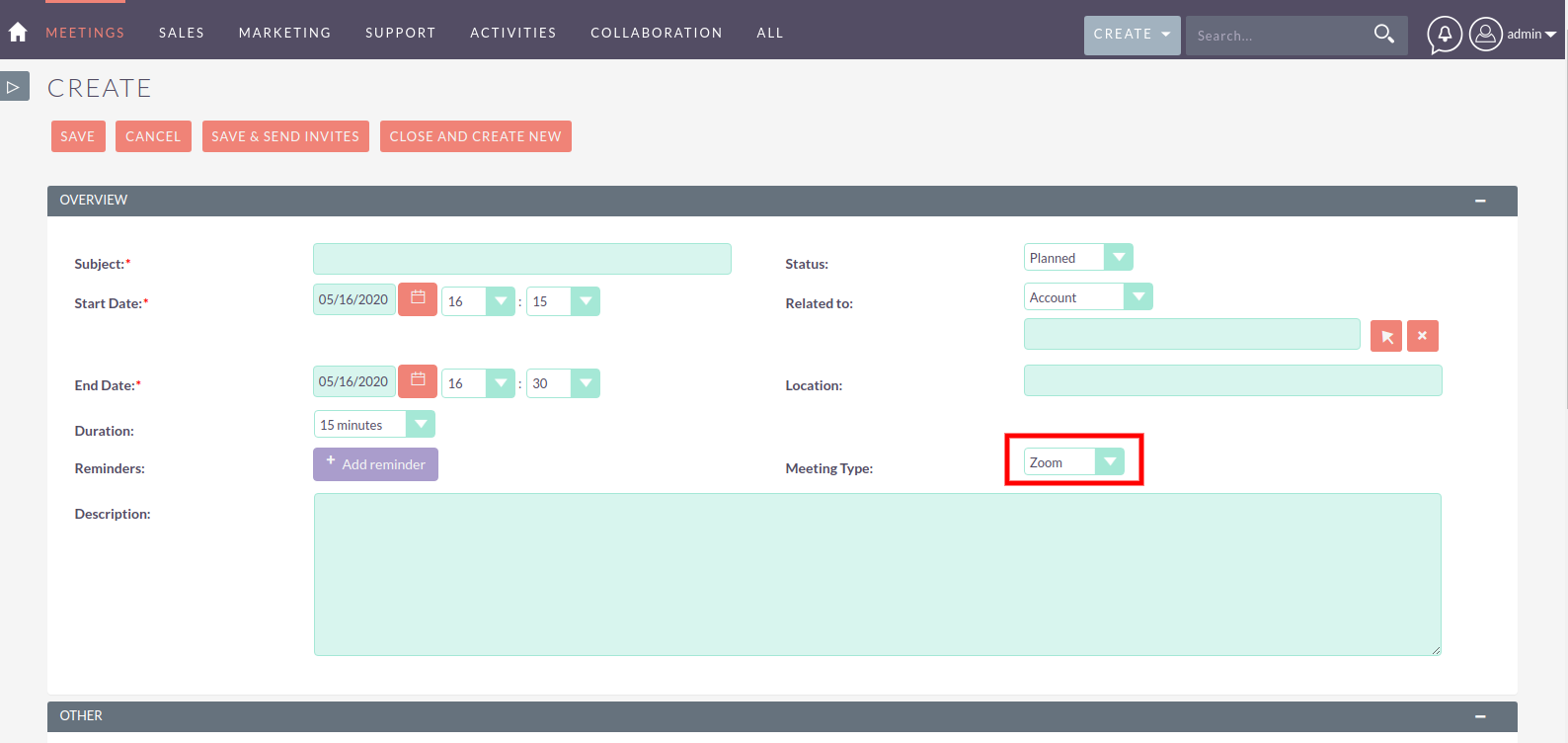 Zoom Integration for SuiteCRM create meeting