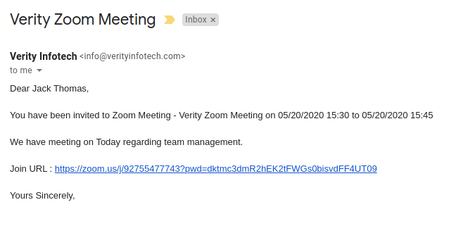 Zoom Integration for SuiteCRM invitee email