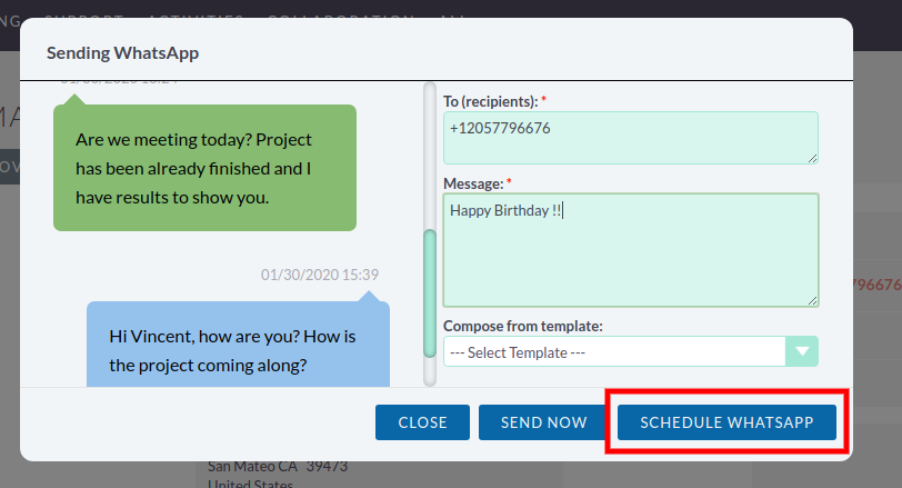 Scheduling messages in the SuiteCRM WhatsApp Integration