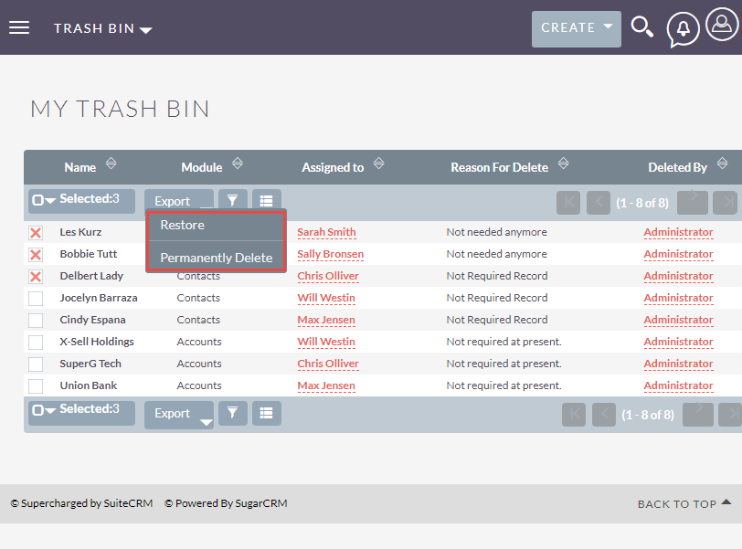 Restore or Permanently Delete records from Trash Bin