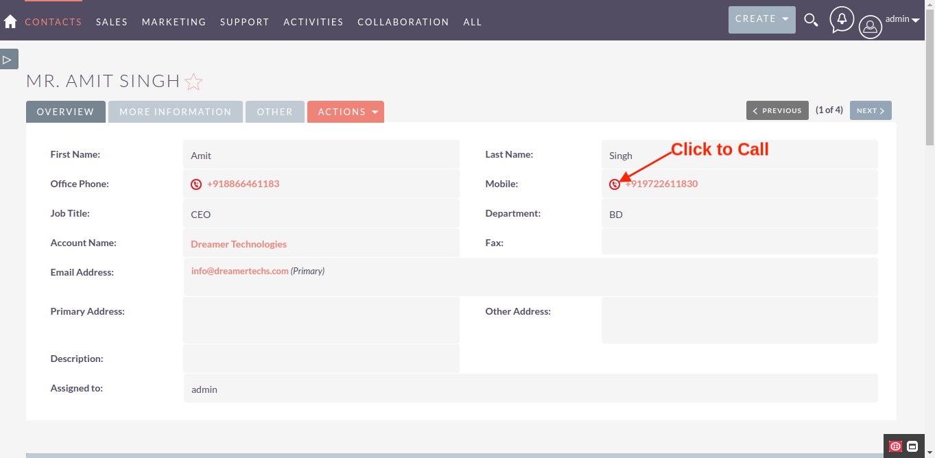 Twilio Call Integration for SuiteCRM click to call
