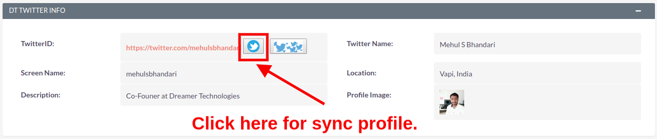Sync Your Twitter Profile Example