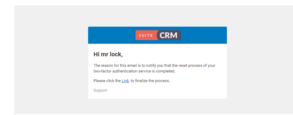 Two-Factor Authentication add-on for SuiteCRM reset finalized