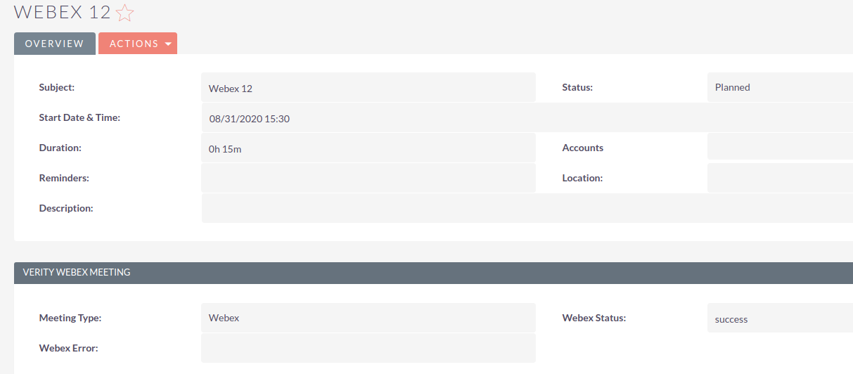 Webex Integration for SuiteCRM planned meeting
