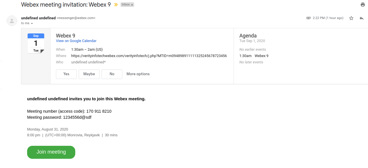 Webex Integration for SuiteCRM invitee email notification