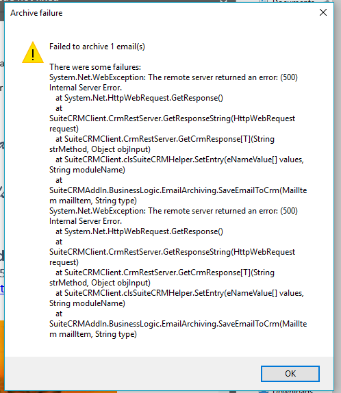 SuiteCRM Outlook archiving error.png