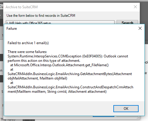 SuiteCRM Outlook Error.jpg