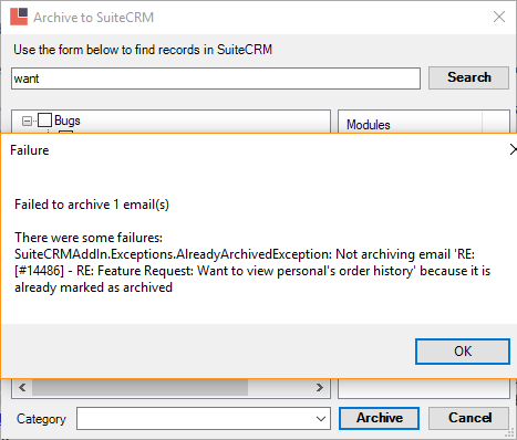 Send and Archive not working prope    | Support | Official SuiteCRM