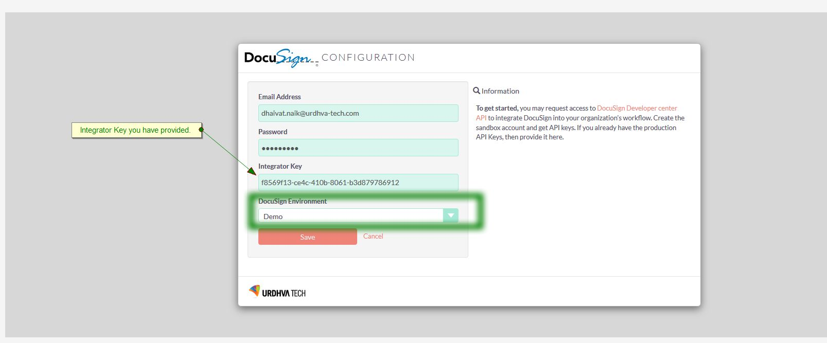 DocuSign API Key Setting