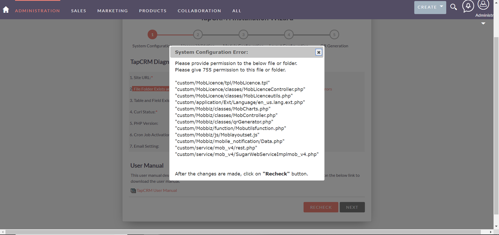 TapCRM_System_Config_Error.PNG